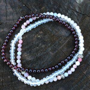 Jewelry - Set of 3 Mini Genuine Stone Bracelets